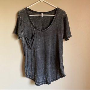 Grey Burnout V Neck Pocket T-shirt